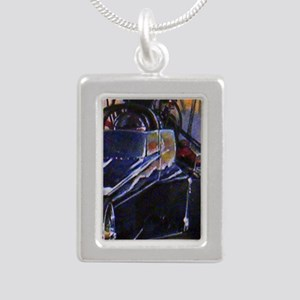 Auto Racing Silver Portrait Necklace
