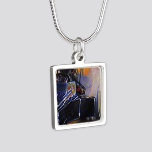 Auto Racing Silver Square Necklace