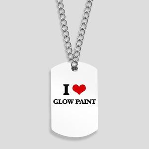 I Love Glow Paint Dog Tags