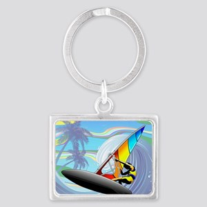 Windsurfer on Ocean Waves Keychains