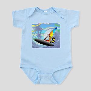 Windsurfer on Ocean Waves Body Suit