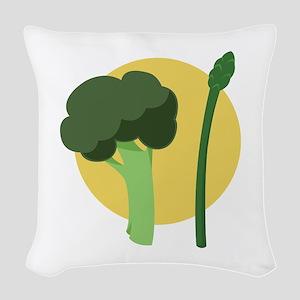 Broccoli Asparagus Woven Throw Pillow