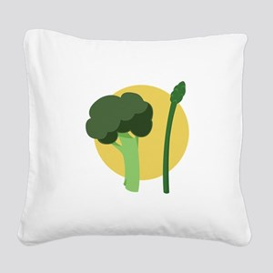 Broccoli Asparagus Square Canvas Pillow