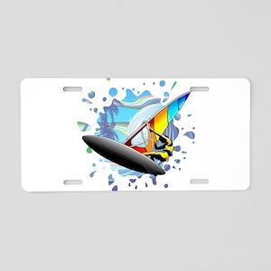 Windsurfer on Ocean Waves Aluminum License Plate