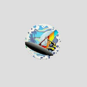 Windsurfer on Ocean Waves Mini Button