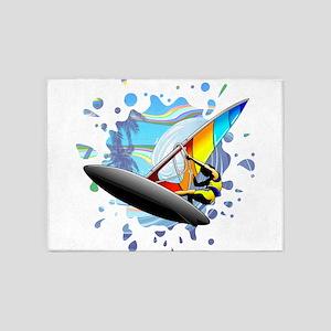 Windsurfer on Ocean Waves 5'x7'Area Rug