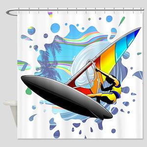 Windsurfer on Ocean Waves Shower Curtain