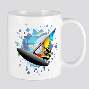 Windsurfer on Ocean Waves Mugs