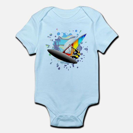 Windsurfer on Ocean Waves Body Suit
