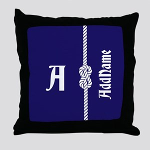 Nautical Rope Custom Monogram Throw Pillow