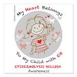 "Heart Eb Epidermolysis Square Car Magnet 3"" X"