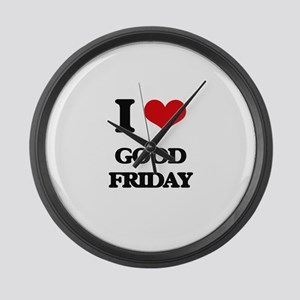 I Love Good Friday Large Wall Clock