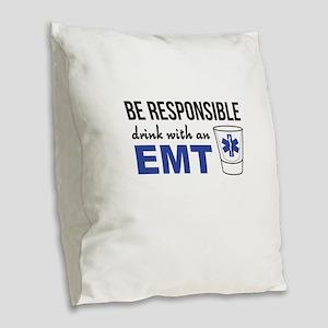 Drink with an EMT Burlap Throw Pillow