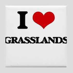 I Love Grasslands Tile Coaster