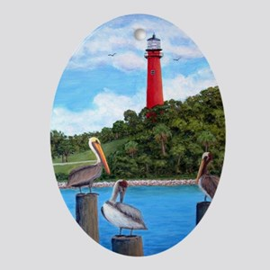 Jupiter Inlet Pelicans Ornament (Oval)