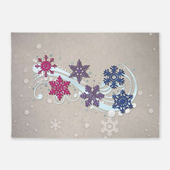 Bisexual Snow Flakes 5'x7'Area Rug