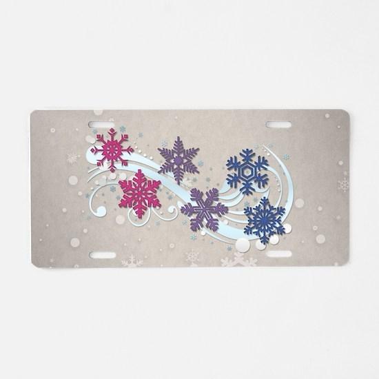 Bisexual Snow Flakes Aluminum License Plate