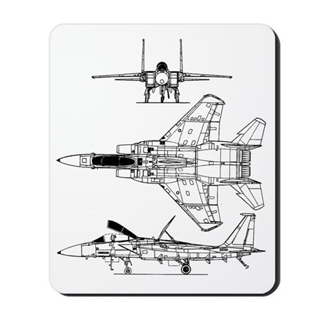 F-15 Eagle Schematic Mousepad by defy_gravity