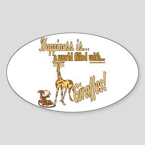 Happiness is a giraffe Oval Sticker