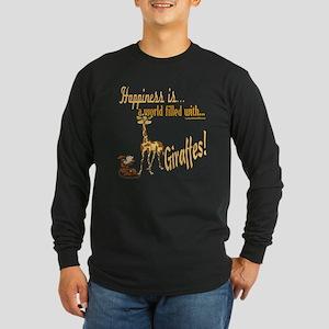 Happiness is a giraffe Long Sleeve Dark T-Shirt