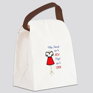 LEARNED TO SEW APPLIQUE Canvas Lunch Bag