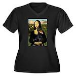 Mona's Doberman Women's Plus Size V-Neck Dark T-Sh