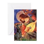 Mandolin Angel & Dobie Greeting Cards (Pk of 10)