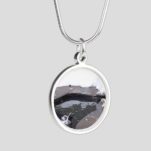 Snowy Ducks Silver Round Necklace