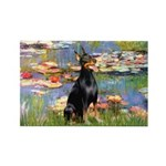 Lilies (#2) & Doberman Rectangle Magnet (10 pack)