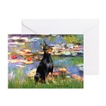 Lilies (#2) & Doberman Greeting Cards (Pk of 10)