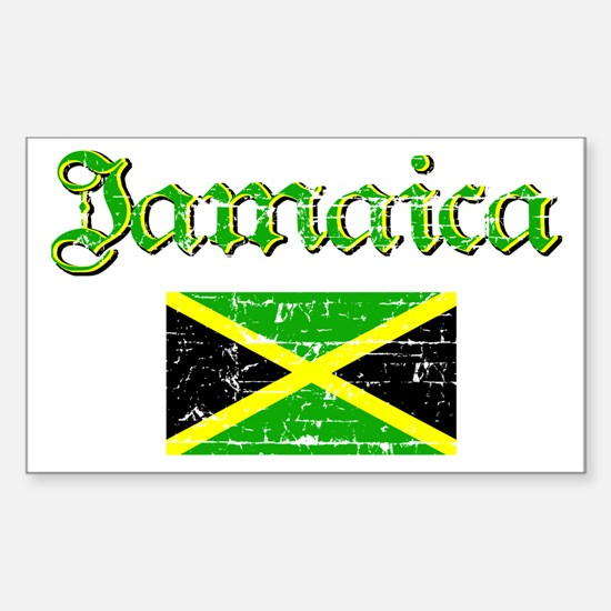 Jamaican distressed flag Rectangle Decal