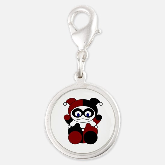 Red Baby Harlequin Silver Round Charm