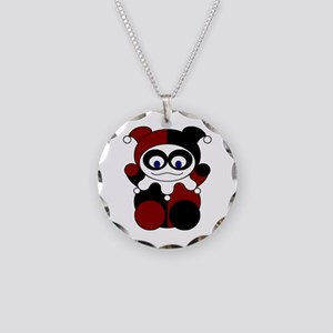 Red Baby Harlequin Necklace Circle Charm