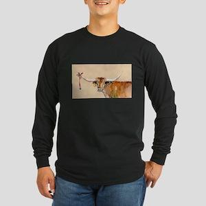 Long Horn Christmas Long Sleeve Dark T-Shirt