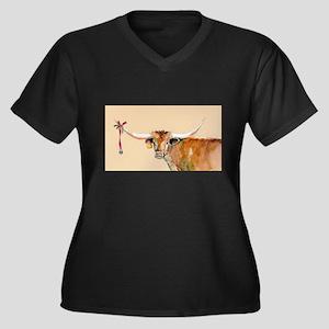 Long Horn Ch Women's Plus Size V-Neck Dark T-Shirt