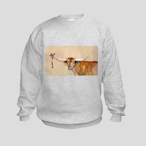 Long Horn Christmas Kids Sweatshirt