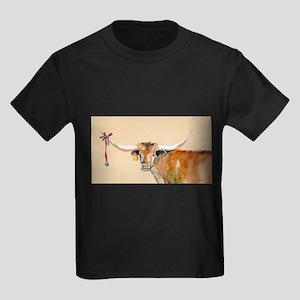 Long Horn Christmas Kids Dark T-Shirt