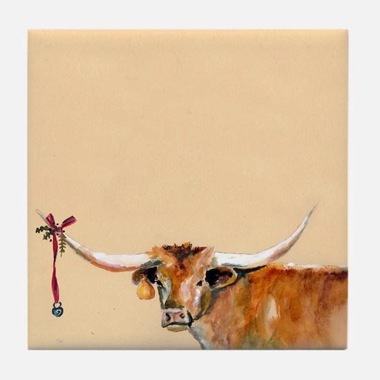 Long Horn Christmas Tile Coaster