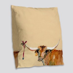 Long Horn Christmas Burlap Throw Pillow