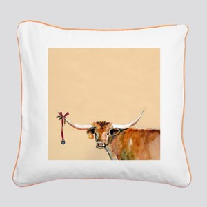 Long Horn Christmas Square Canvas Pillow