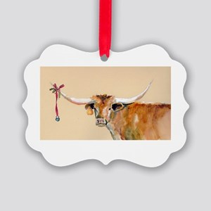 Long Horn Christmas Picture Ornament