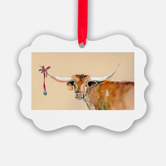 Long Horn Christmas Ornament
