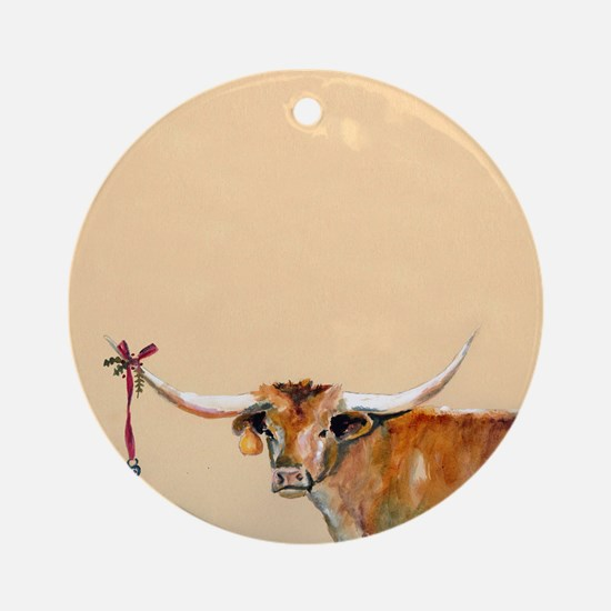 Long Horn Christmas Ornament (Round)