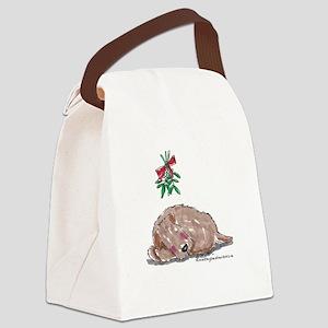 Goldendoodle Mistletoe Canvas Lunch Bag