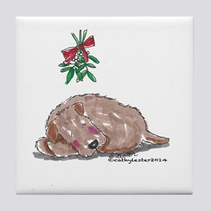 Goldendoodle Mistletoe Tile Coaster