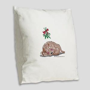 Goldendoodle Mistletoe Burlap Throw Pillow
