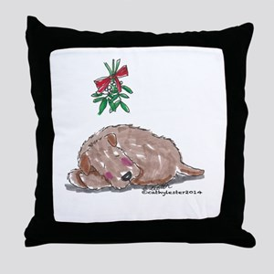 Goldendoodle Mistletoe Throw Pillow