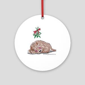 Goldendoodle Mistletoe Ornament (Round)