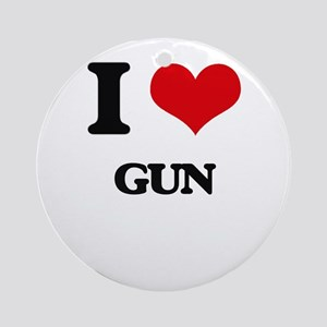 I Love Gun Ornament (Round)