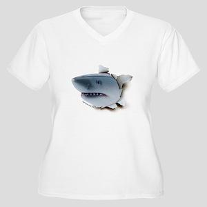Shark Burster Women's Plus Size V-Neck T-Shirt